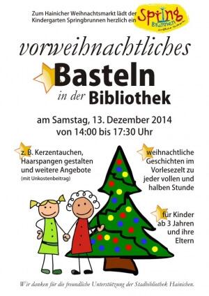 Weihnachtsbasteln in der bibliothek springbrunnen e v for Kindergarten weihnachtsbasteln